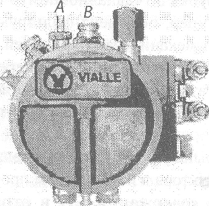 Расположение регулировочных винтов редуктора-испарителя Vialle